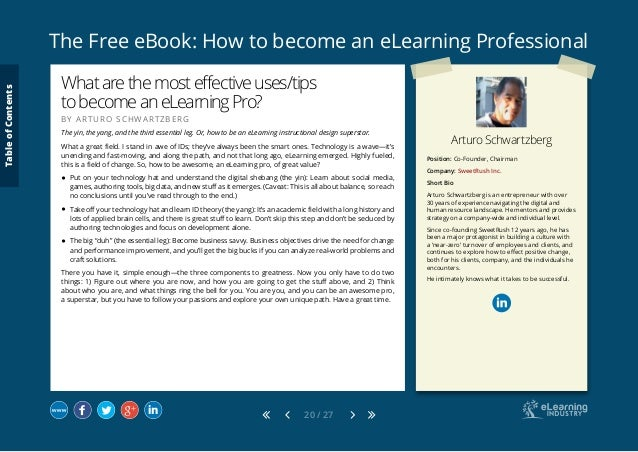 The Free eBook: How to become an eLearning Professional 20 / 27 Arturo Schwartzberg Position: Co-Founder, Chairman Company...