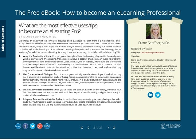 The Free eBook: How to become an eLearning Professional 21 / 27 Position: CEO/President Company: Cine Learning Productions...