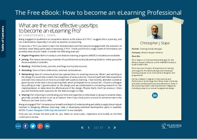 The Free eBook: How to become an eLearning Professional 22 / 27 Position: Training Activity Manager Company: Mission Suppo...