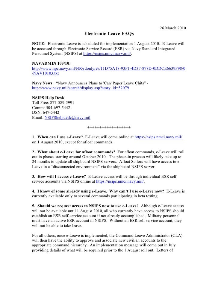 26 March 2010                               Electronic Leave FAQs  NOTE: Electronic Leave is scheduled for implementation ...