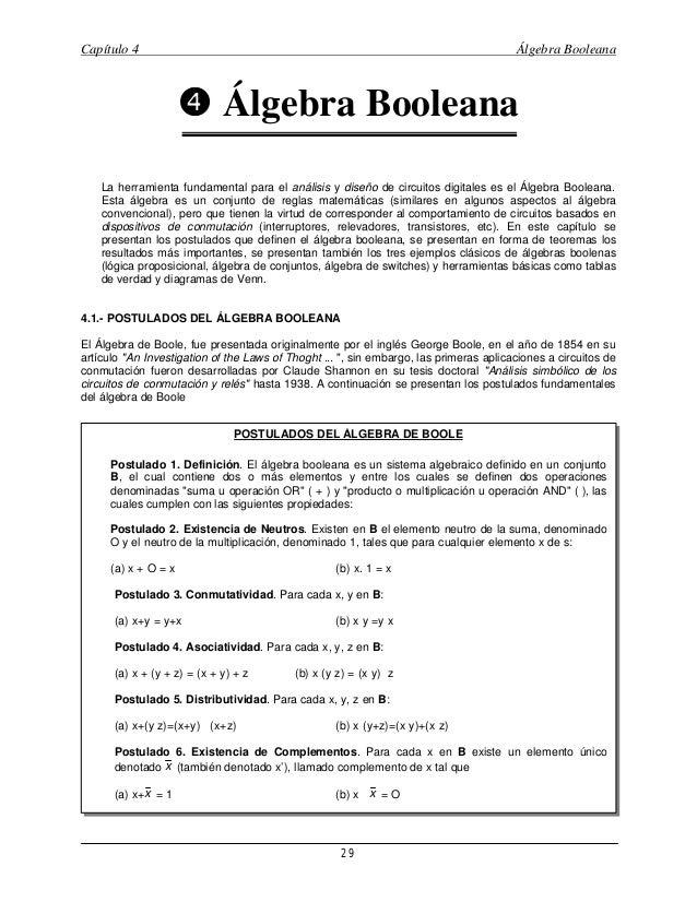 Capítulo 4  Álgebra Booleana  • Álgebra Booleana Ö La herramienta fundamental para el análisis y diseño de circuitos digit...