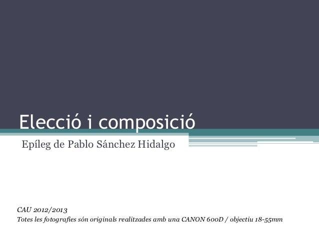 Elecció i composició Epíleg de Pablo Sánchez HidalgoCAU 2012/2013Totes les fotografies són originals realitzades amb una C...