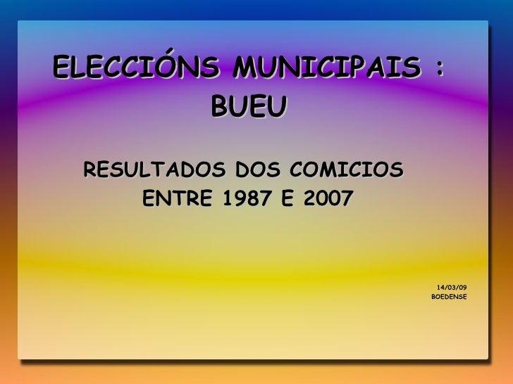 ELECCIÓNS MUNICIPAIS : BUEU RESULTADOS DOS COMICIOS  ENTRE 1987 E 2007 14/03/09 BOEDENSE