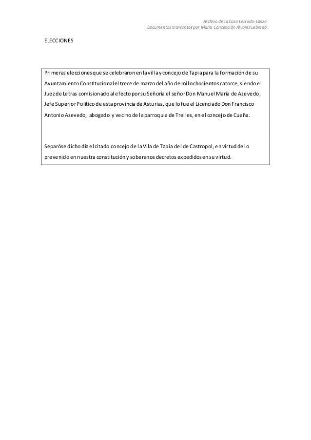 Archivo de la Casa Lebredo-Lanza Documentos transcritos por María Concepción Álvarez Lebredo ELECCIONES Primeraselecciones...
