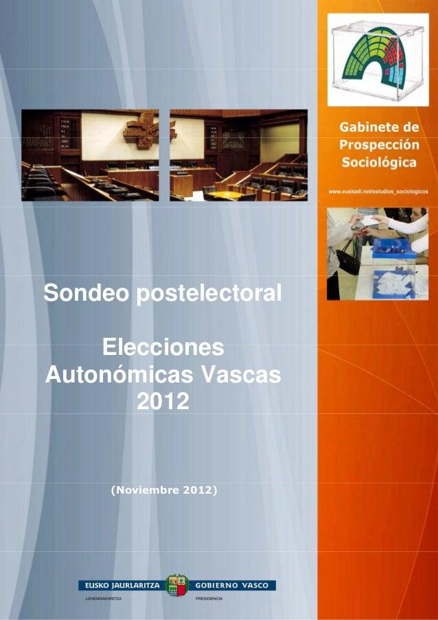 Sondeo postelectoral    EleccionesAutonómicas Vascas       2012     (Noviembre 2012)