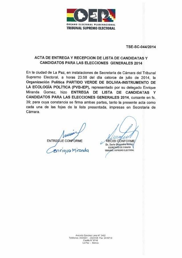 Elecciones 2014 partido verde por bolivia   lista completa