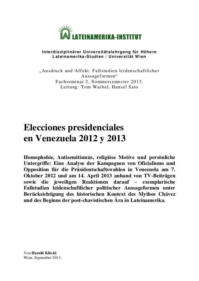 "Interdisziplinärer Universitätslehrgang für Höhere Lateinamerika-Studien / Universität Wien ""Ausdruck und Affekt. Fallstud..."