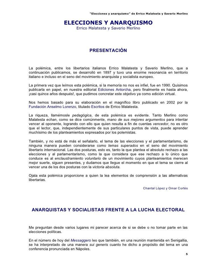 """""""Elecciones y anarquismo"""" de Errico Malatesta y Saverio Merlino                        ELECCIONES Y ANARQUISMO            ..."""