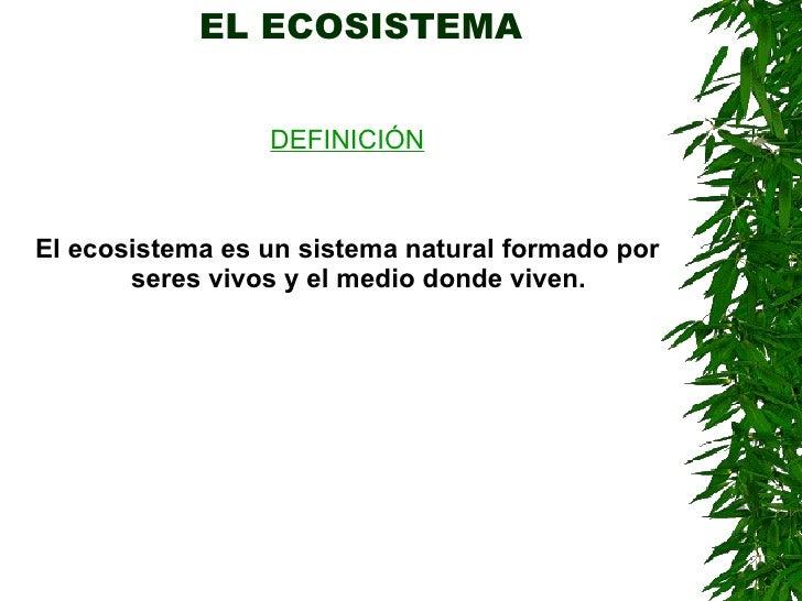 EL ECOSISTEMA <ul><li>DEFINICIÓN </li></ul><ul><li>El ecosistema es un sistema natural formado por seres vivos y el medio ...