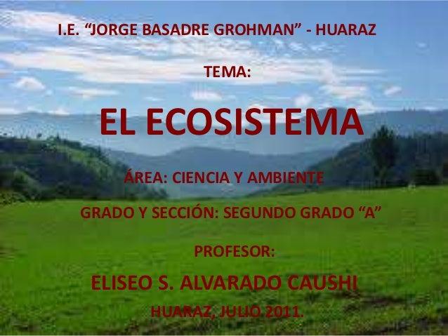 """I.E. """"JORGE BASADRE GROHMAN"""" - HUARAZ                TEMA:    EL ECOSISTEMA       ÁREA: CIENCIA Y AMBIENTE  GRADO Y SECCIÓ..."""