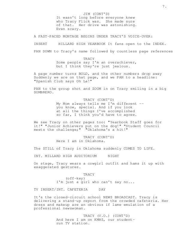 How do you format a montage in a screenplay?