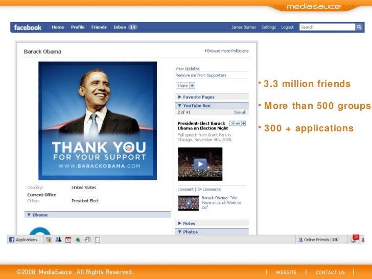<ul><li>3.3 million friends </li></ul><ul><li>More than 500 groups </li></ul><ul><li>300 + applications </li></ul>