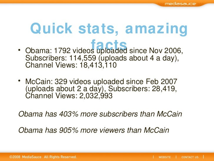 Quick stats, amazing facts <ul><li>Obama: 1792 videos uploaded since Nov 2006, Subscribers: 114,559 (uploads about 4 a day...