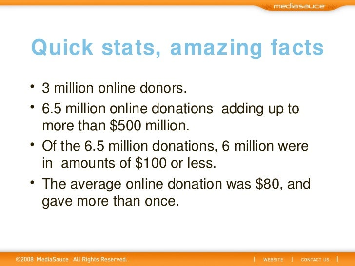Quick stats, amazing facts <ul><li>3 million online donors. </li></ul><ul><li>6.5 million online donationsadding up to mo...