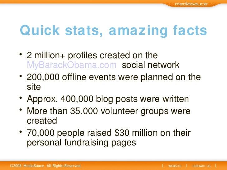 Quick stats, amazing facts <ul><li>2 million+ profiles created on the MyBarackObama.com social network </li></ul><ul><li...