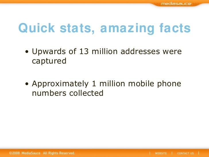 Quick stats, amazing facts <ul><li>Upwards of 13 million addresses were captured </li></ul><ul><li>Approximately 1 million...