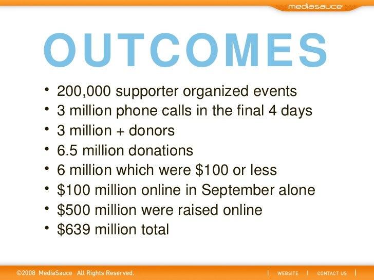 OUTCOMES <ul><li>200,000 supporter organized events </li></ul><ul><li>3 million phone calls in the final 4 days </li></ul>...