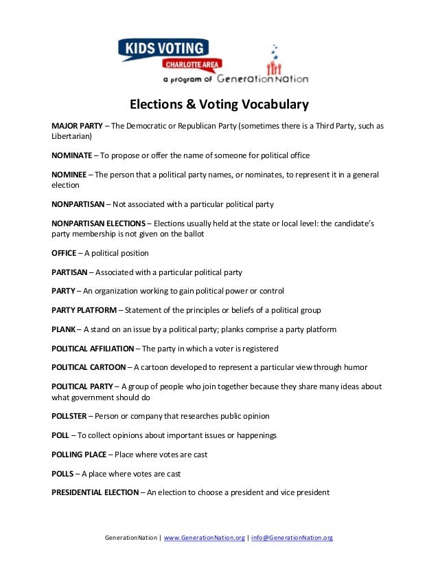 Election2014learning activities – Political Parties Worksheet