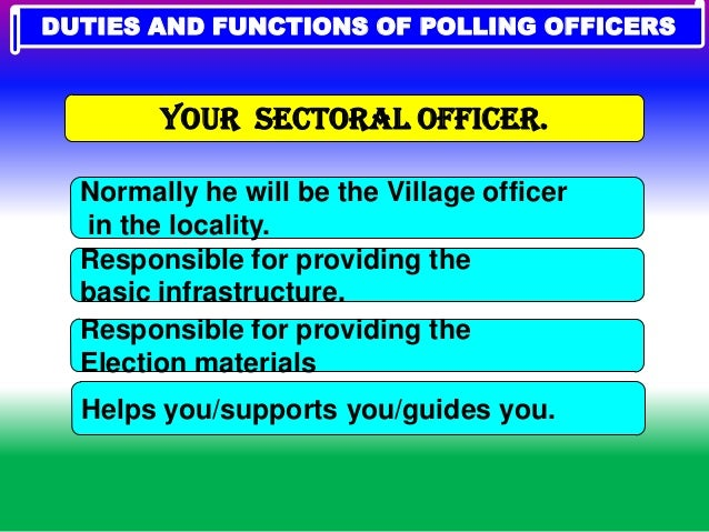 india election 2014 duty of polling officers