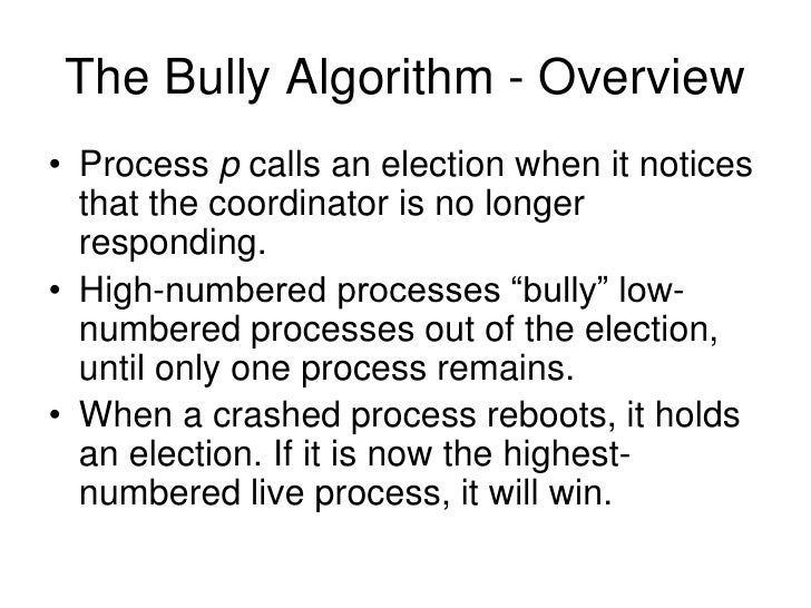 Election algorithms. Topics r issues r detecting failures r bully.