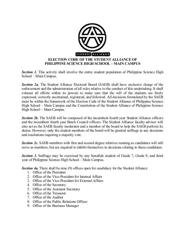ELECTION CODE OF THE STUDENT ALLIANCE OF PHILIPPINE SCIENCE HIGH SCHOOL – MAIN CAMPUS Section 1. This activity shall invol...