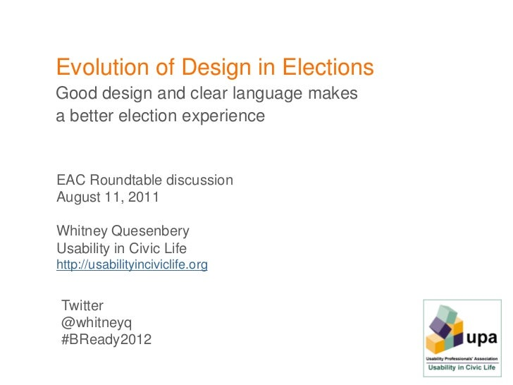 Evolution of Design in ElectionsGood design and clear language makesa better election experienceEAC Roundtable discussionA...