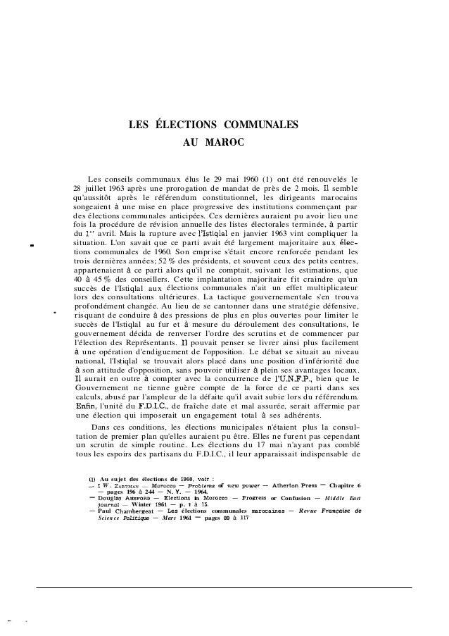 LES ÉLECTIONS COMMUNALES                                               AU MAROC              Les conseils communaux élus l...