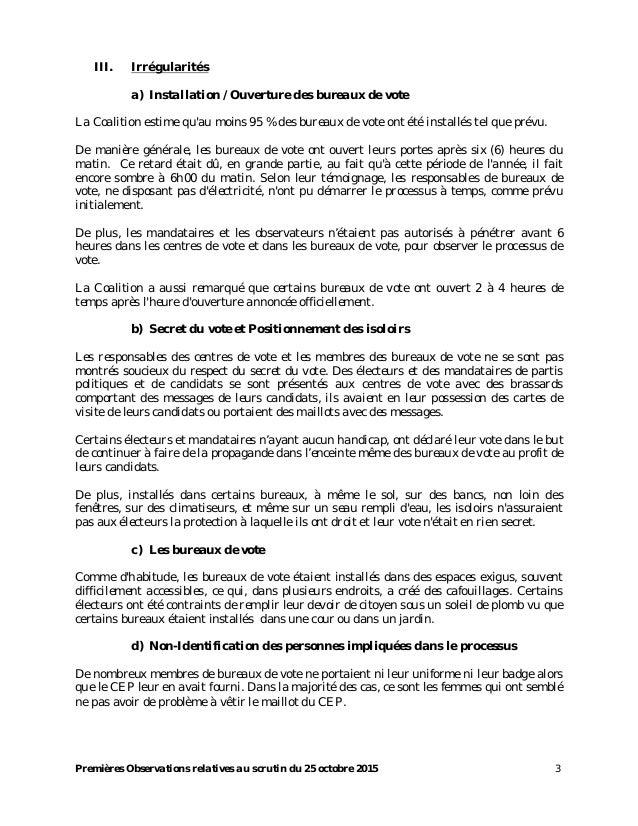Scrutin du 25 octobre rapport de la solidarite fanm ayisy n sofa - Heure ouverture bureau vote ...