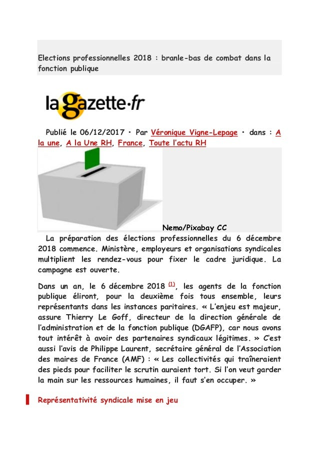Elections Professionnelles Fonction Publique Territoriale Recapitulat