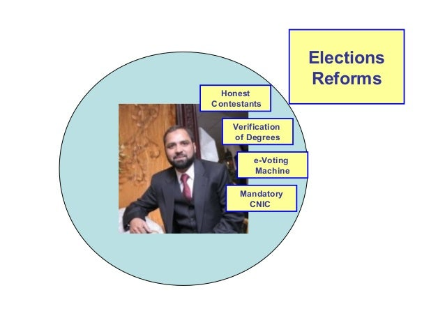 Elections  Reforms  Honest  Contestants  Verification  of Degrees  e-Voting  Machine  Mandatory  CNIC