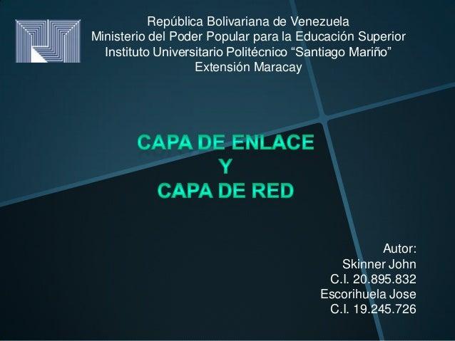 República Bolivariana de VenezuelaMinisterio del Poder Popular para la Educación Superior  Instituto Universitario Politéc...