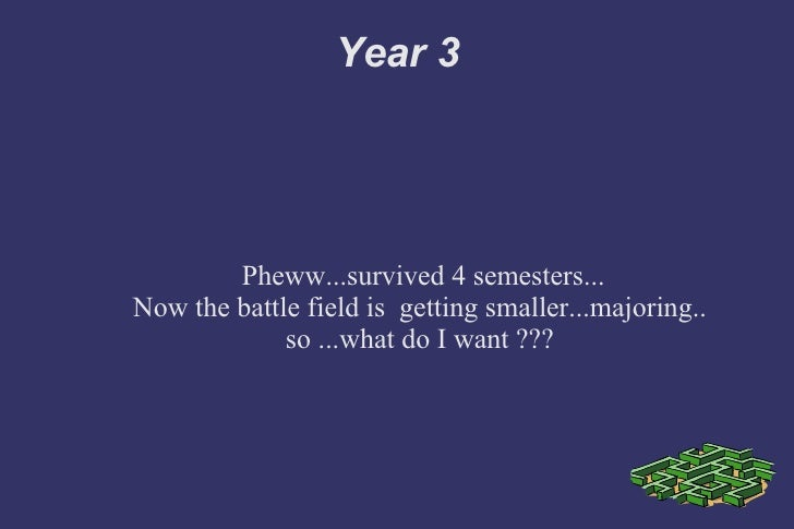 Year 3 Pheww...survived 4 semesters... Now the battle field is  getting smaller...majoring.. so ...what do I want ???