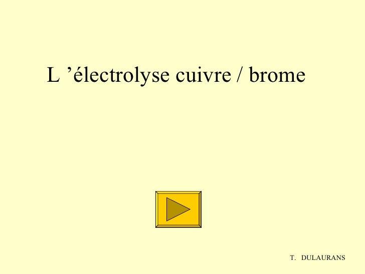 L'électrolyse cuivre/ brome T.  DULAURANS