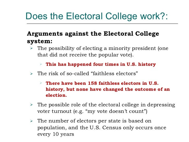 "elimintating the electoral college essay The electoral college has the job of officially electing the united states president after the popular vote is counted by each state, the ""electors."