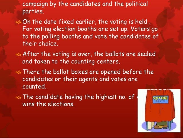 campaign by the candidates and the political parties. On the date fixed earlier, the voting is held . For voting election...