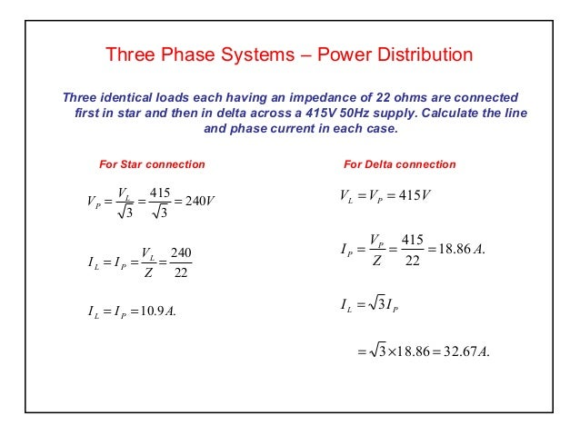 Elect principles 2 three phase systems for 3 phase motor power calculation