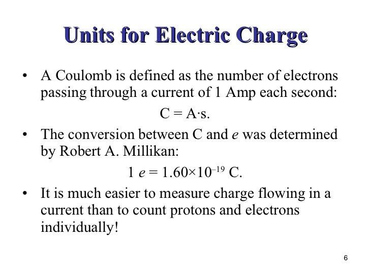 6 units for electric charge