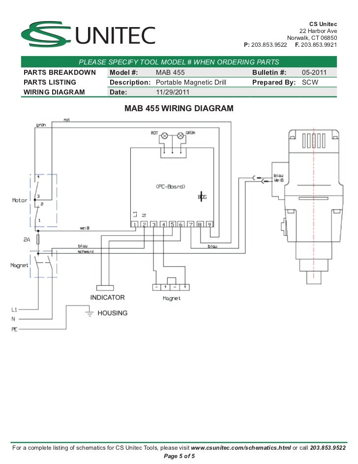 Cs Unitec Electric Magnetic Drills Schematic  Mab 455