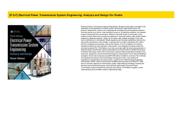 P D F Electrical Power Transmission System Engineering Analysis An
