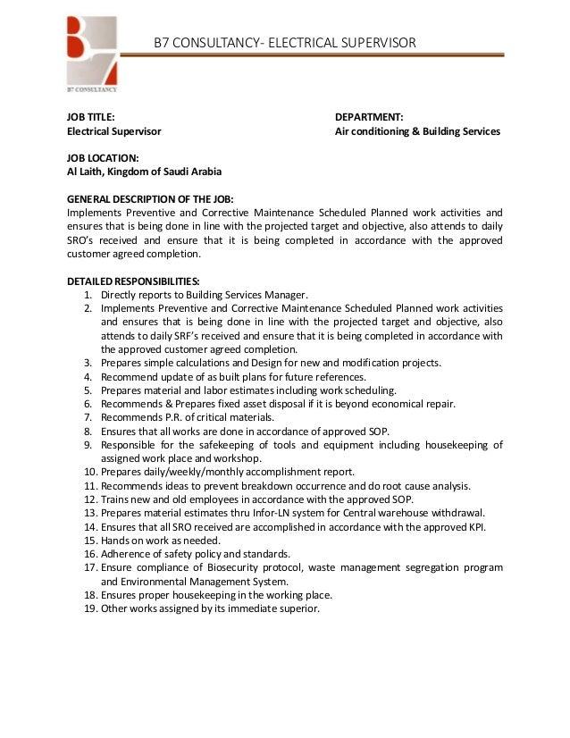 Electrical supervisor Job Description
