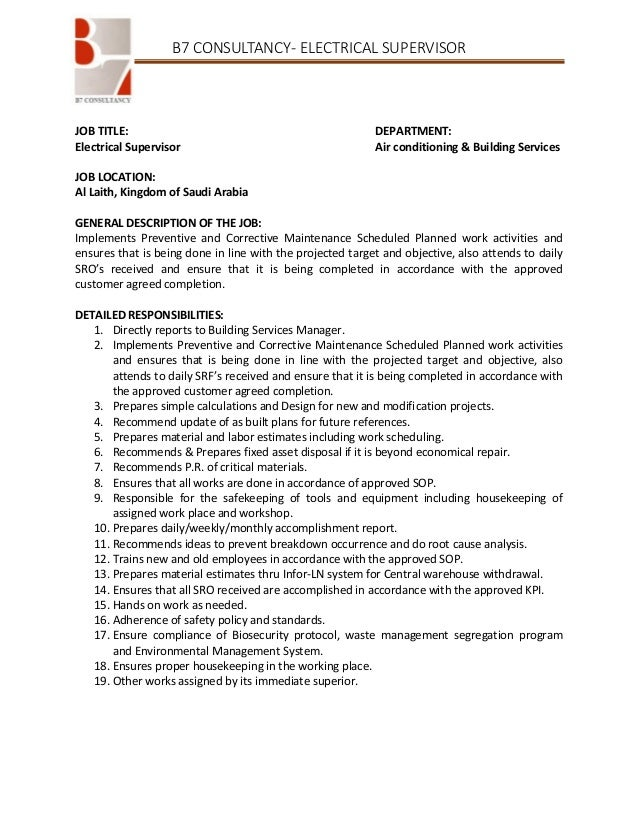 electrical supervisor job description - Responsibilities Of An Electrician