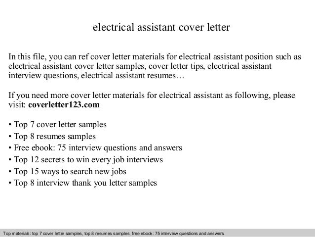Electrical Assistant Cover Letter In This File You Can Ref Materials For