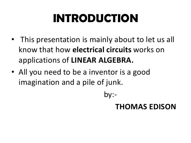 Electrical circuits in concept of linear algebra