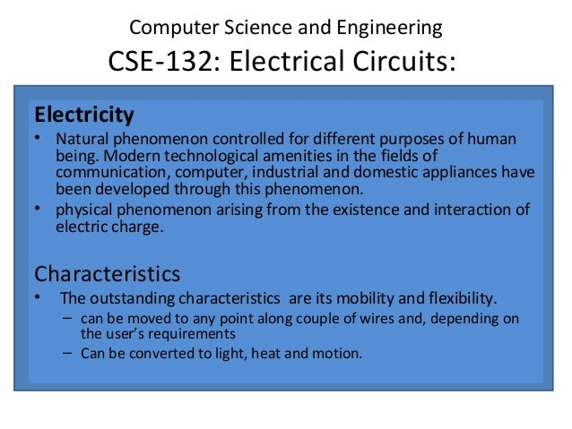 Electrical circuits cse 132 introduction