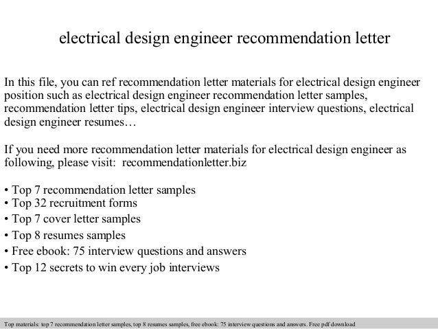Electrical design engineer recommendation letter
