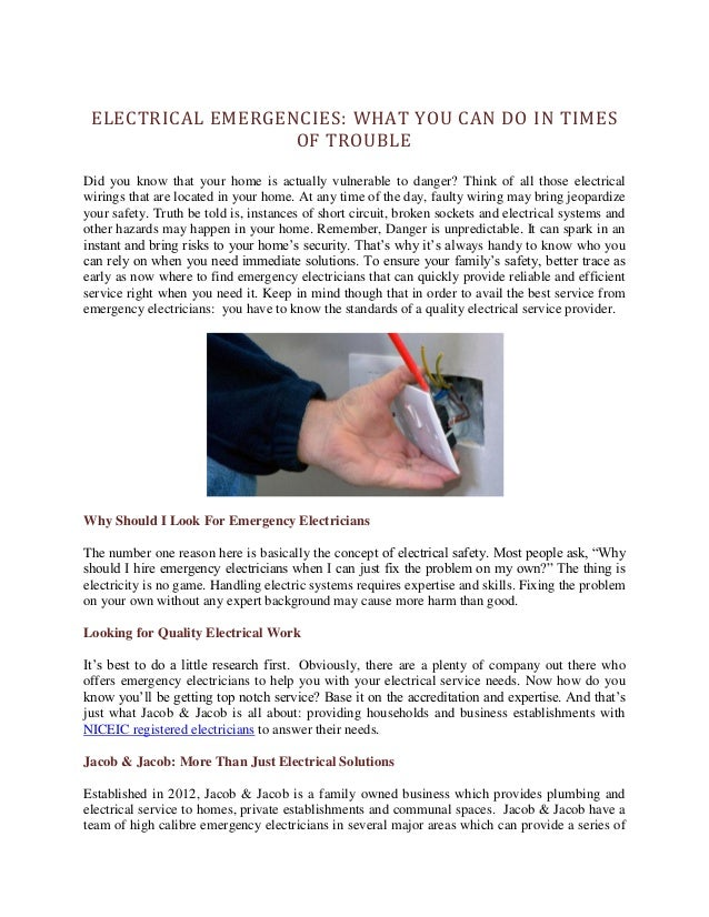 Electrical Emergencies: What You Can Do in Times of Trouble