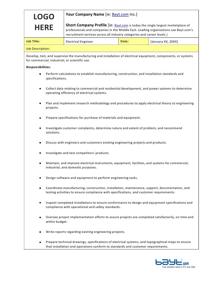 Electrical Engineer Job Description Template By Bayt Com