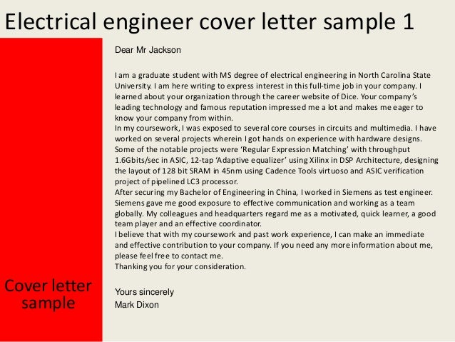 Electrical Engineering Cover Letter Example