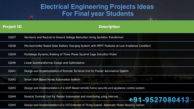 Most Challenging 100+ Electrical Engineering (EEE) Projects Ideas