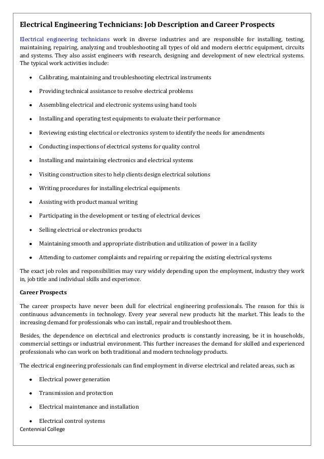 centennial college electrical engineering technicians job description and career prospects electrical engineering technic electrician job - Responsibilities Of An Electrician